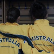 Ash Barty (L) and Casey Dellacqua demonstrate some national pride; Tennis Australia