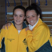 Fed Cup and doubles teammates Ash Barty (L) and Casey Dellacqua in Ostrava, Czech Republic; Tennis Australia