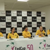 (L-R) Ash Barty, Jarmila Gajdosova, Casey Dellacqua, Sam Stosur and Australian  team captain Alicia Molik during their Fed Cup pre-tie press conference in Ostrava, Czech Republic; Tennis Australia