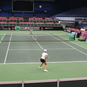 Ash Barty (foreground) practices with Jarmila Gajdosova in Ostrava ahead of the Australia v Czech Republic Fed Cup tie, as Alicia Molik (L) Todd Woodbridge (R) look on; Tennis Australia