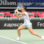 Jarmila Gajdosova practices ahead of the Australia v Czech Republic Fed Cup World Group tie at Cez Arena in Ostrava; Tennis Australia