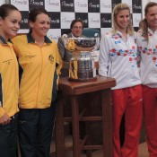 Australians Ash Barty (L) and Casey Dellacqua (second from left) will take on Czechs Andrea Hlavackova (second from right) and Lucie Hradecka in the doubles rubber; Tennis Australia