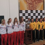 The Czech and Australian teams pose at the Fed Cup official draw ceremony at Ostrava's City Hill; Tennis Australia