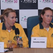 Australian Fed Cup captain Alicia Molik and No.1 singles player Sam Stosur during a press conference ahead of the Fed Cup tie against the Czech Republic; Tennis Australia