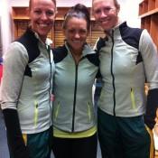 (L-R) Australian Fed Cup coach Nicole Bradtke, Casey Dellacqua and captain Alicia Molik; Tennis Australia