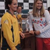 Jarmila Gajdosova (L) and Lucie Safarova will face off in the second of the reverse singles rubbers on Sunday; Tennis Australia