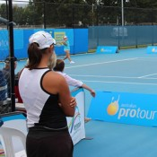 Viktorija Rajicic takes in the on-court action at the Launceston Women's Pro Tour event; Denis Tucker
