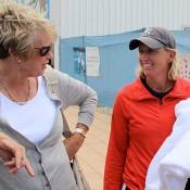 Tennis Australia's head women's coach Nicole Pratt (R) chats with a fan at the Launceston Women's Pro Tour event; Denis Tucker