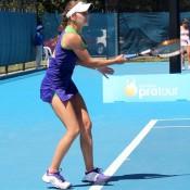 Azra Hadzic in action against Sacha Jones at the Launceston Women's Pro Tour event; Denis Tucker
