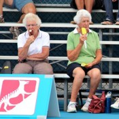 Fans enjoy some ice-cream as the take in the action courtside at the Launceston Women's Pro Tour event; Denis Tucker