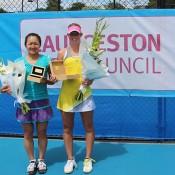 Launceston Women's Pro Tour winner Storm Sanders (R) poses alongside finalist Shuko Aoyama; Denis Tucker