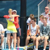 Storm Sanders hugs National Women's Coach Nicole Pratt after her win at the Launceston Women's Pro Tour event; Denis Tucker