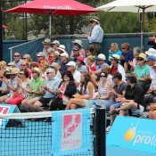 A big crowd were in attendence for the final of the Launceston Women's Pro Tour event between Australian Storm Sanders and Shuko Aoyama of Japan; Denis Tucker