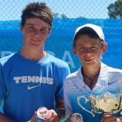 Alex De Minaur (R) from New South Wales won the 14s National Grasscourt Championships boys' title title over qualifier Daniel Hobart (L) from South Australia; Tennis Australia