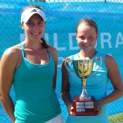 Victorian Azra Hadzic (L) finished runner-up in the women's singles event at the Mildura Grand International, falling in the final to Russia's Ksenia Lykina (R); Tennis Australia