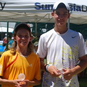 Matthew Romios (L) and Jamie Sekulovski from Victoria won the boys' 14s doubles title at the 2013 National Grasscourt Championships in Mildura; Tennis Australia