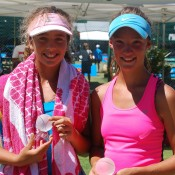Jessica Zaviacic from Victoria (L) teamed with Gabriella Da Silva-Fick from New South Wales to win the girls' 12s doubles title at the 2013 National Grasscourt Championships in Mildura; Tennis Australia