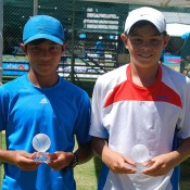 Stefan Norodom from South Australia (L) and Connor Di Marco from Victoria won the boys' 12s doubles title at the 2013 National Grasscourt Championships in Mildura; Tennis Australia