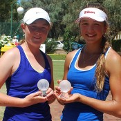 Nicole Kraemer (L) and Petra Hule from South Australia won the girls' 14s doubles title at the 2013 National Grasscourt Championships in Mildura; Tennis Australia