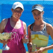 Nicole Kraemer (L) from South Australia won her first national title after defeating Gabrielle O'Gorman (R) from New South Wales in three sets in the 14s National Grasscourt Championships girls' final; Tennis Australia