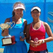 Jessica Zaviacic (L) from Victoria won her first national title at the 12s National Grasscourt Championships, defeating Kyra Yap (R) from Queensland in the girls' final; Tennis Australia