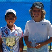 Rinky Hijikata (L) from New South Wales defeated Sam May (R) from South Australia in the 12s National Grasscourt Championships boys' singles final; Tennis Australia