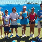 All the finalists from the 2013 National Grasscourt Championships singles events in Mildura: (L-R) Nicole Kramer (SA), Gabrielle O'Gorman (NSW), Rinky Hijikata (NSW), Sam May (SA), Jessica Zaviacic (VIC), Kyra Yap (QLD), Daniel Hobart (SA) and Alex De Minaur (NSW); Tennis Australia