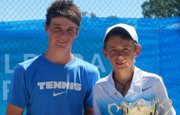 Alex Di Minaur (R) was victorious in the 14s National Grasscourt Championships final in Mildura over Daniel Hobart; Tennis Australia