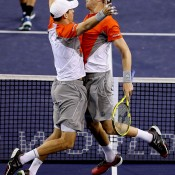 Mike (R) and Bob Bryan celebrate their semifinal win over Santiago Gonzalez of Mexico and Scott Lipsky at the BNP Paribas Open in Indian Wells, California; Getty Images