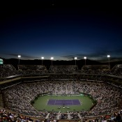 A packed Stadium 1 for the women's semifinal between Angelique Kerber of Germany and Caroline Wozniacki of Denmark at the BNP Paribas Open in Indian Wells, California; Getty Images