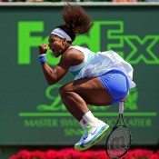 Serena Williams jumps for joy after winning her quarterfinal over Li Na at the Sony Open in Key Biscayne, Florida; Getty Images