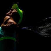 Maria Sharapova serves during her 6-2 6-1 semifinal destruction of Jelena Janovic at the Sony Open in Key Biscayne, Florida; Getty Images