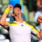 Andy Murray celebrates after beating Marin Cilic in the quarterfinals of the Sony Open in Miami; Getty Images