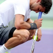 Grigor Dimitrov shows his disappointment at being broken in the first set by Andy Murray during their third round battle at the Sony Open in Key Biscayne, Florida, which Murray won 7-6(3) 6-3; Getty Images