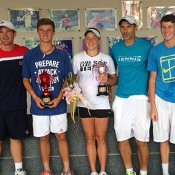 (L-R) coach Liam Smith, boys' champion Omar Jasika, girls' winner Ellen Perez, physical performance coach Stefano Barsacchi and Harry Bourchier on finals day at the ITF junior event in Bangkok; Tennis Australia