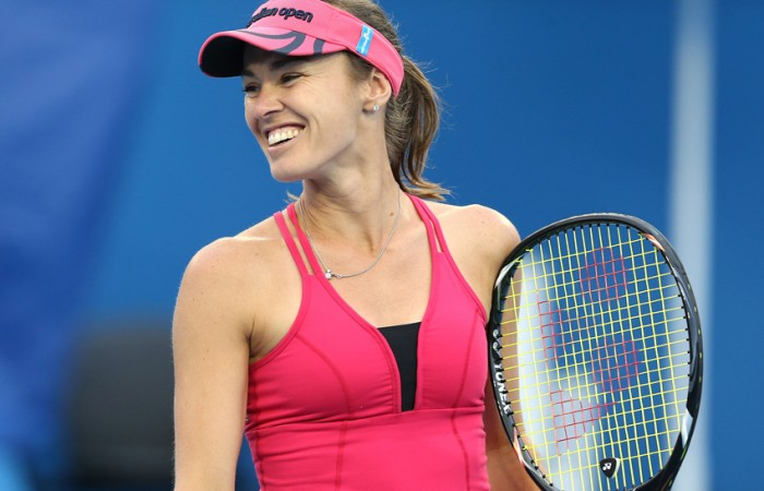 Martina Hingis of Switzerland in action during her first round Legends' doubles match at Australian Open 2013; Getty Images