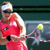 Sam Stosur plays a backhand during her third round win over Peng Shuai at the BNP Paribas Open in Indian Wells, California; Getty Images