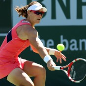 Sam Stosur stretches for a backhand during her 6-3 6-4 second round win over Madison Keys at the BNP Paribas Open at Indian Wells Tennis Garden in Indian Wells, California; Getty Images