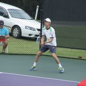 Michael Look in action at the City of Ipswich Tennis International; Tennis Australia
