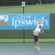 Michael Look in action at the City of Ipswich Tennis International; Tennis Australia