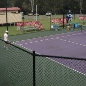 An aerial view of Michael Look in action at the City of Ipswich Tennis International; Tennis Australia