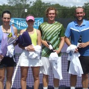 (L-R) City of Ipswich Tennis International women's champion Jelena Panzic, runner up Storm Sanders, men's finalist Jonathon Cooper and winner Colin Ebelthite pose at the trophy presentation; Tennis Australia