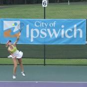 Storm Sanders serves during the women's final against Jelena Pandzic at the City of Ipswich Tennis International; Tennis Australia