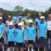 (back row L-R) Umpire John Blom, Jelena Panzic, Storm Sanders, Jonathon Cooper, Colin Ebelthite and Ipswich tournament staff pose at the trophy presentation; Tennis Australia