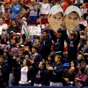 Fans hoist 'Fatheads' of Mike and Bob Bryan during the doubles rubber of the USA v Serbia Davis Cup tie in Boise, Idaho; Getty Images