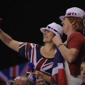 Britain fans snap a selfie during the Davis Cup match between Great Britain and Russia in Coventry, England; Getty Images