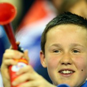 A GB fan makes some noise during Day 3 of the Great Britain v Russia Davis Cup tie in Coventry, England; Getty Images