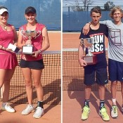 16s National Claycourt Champs finalists (L-R) Anja Dokic, Zoe Hives, Oliver Anderson and Max Purcell; Tennis Australia