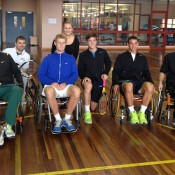Nick Kyrgios (far left), Luke Saville (third from left), Andrew Harris (kneeling) and Alex Bolt (second from right) with staff during their visit to the Royal Talbot Rehabilitation Centre; Tennis Australia