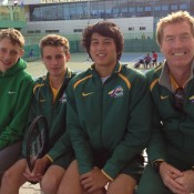 Australia's Junior Davis Cup team of (L-R) Marc Polmans, Oliver Anderson, Akira Santillan and captain Mark Woodforde at the Asia/Oceania Final Qualifying event in Gimcheon, South Korea; Tennis Australia
